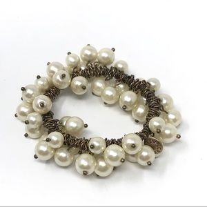 J. Crew Layered Gold Pearl Stretch Bracelet